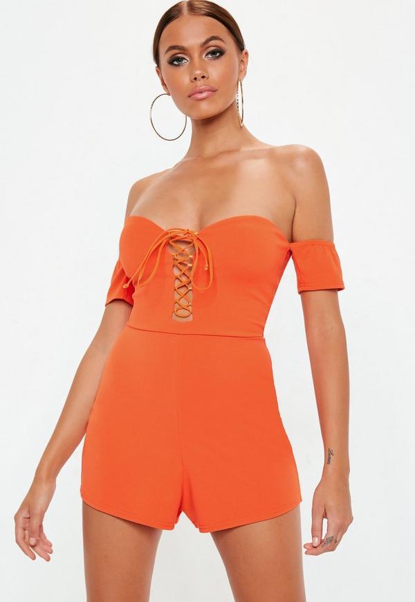 b79fa668aa58 Orange Lace Up Bardot Playsuit