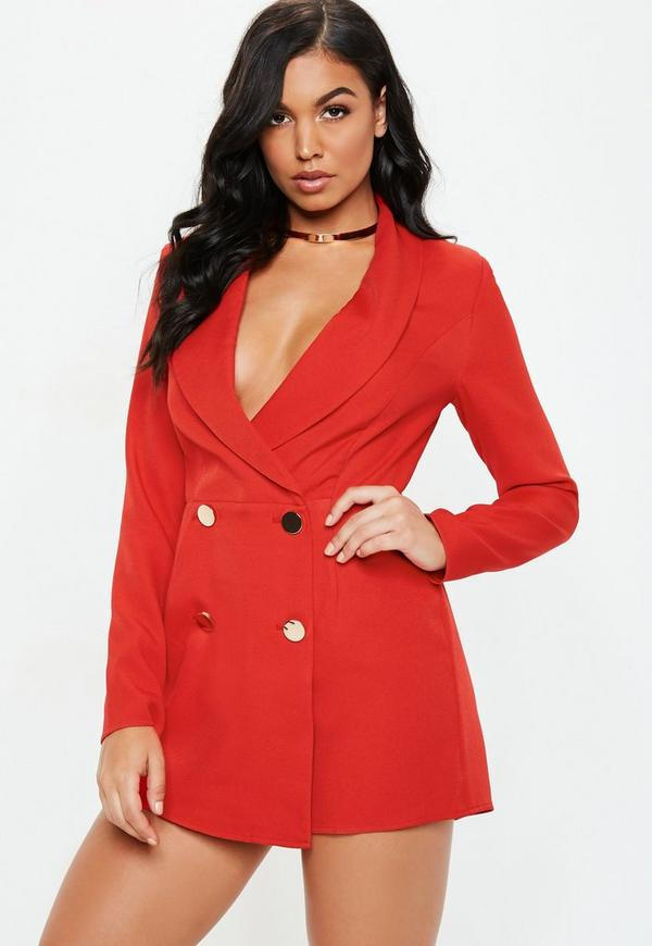 fd532653b735 Red Tailored Military Button Playsuit