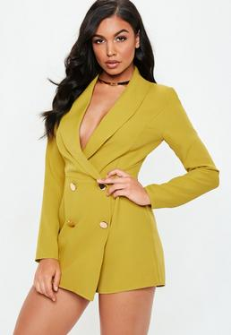 Chartreuse Tailored Military On Playsuit