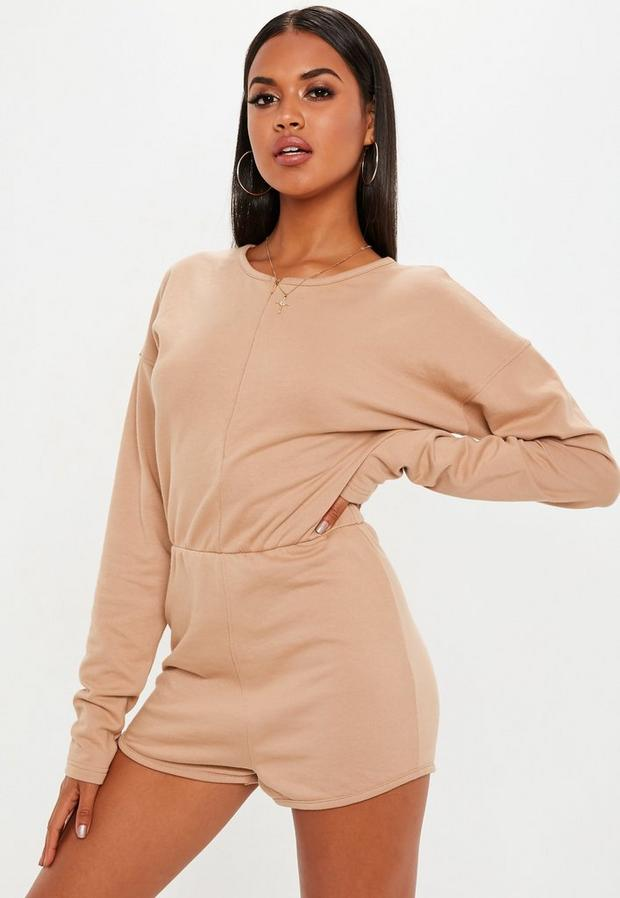 Product photo of Camel loopback playsuit beige