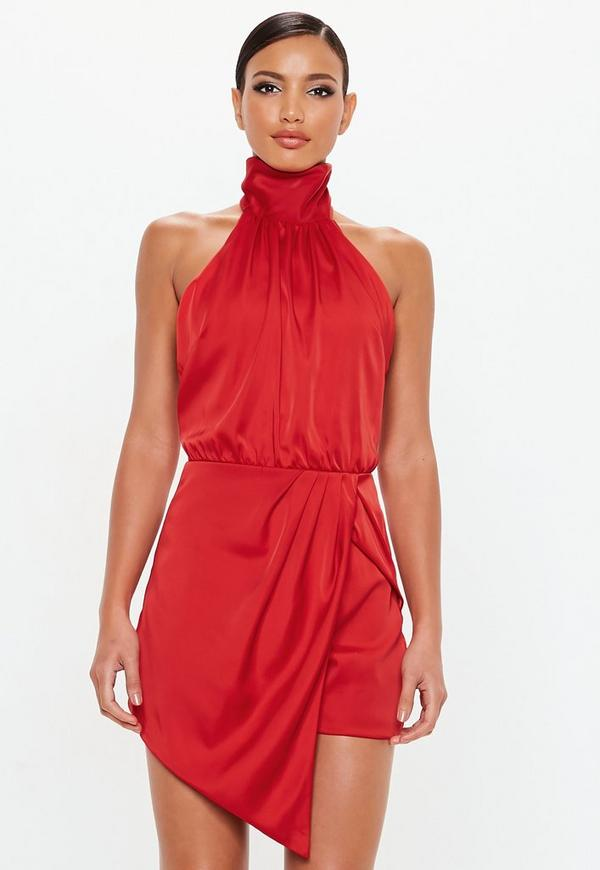 7621776f4ed Peace + Love Red Wrap Satin Playsuit