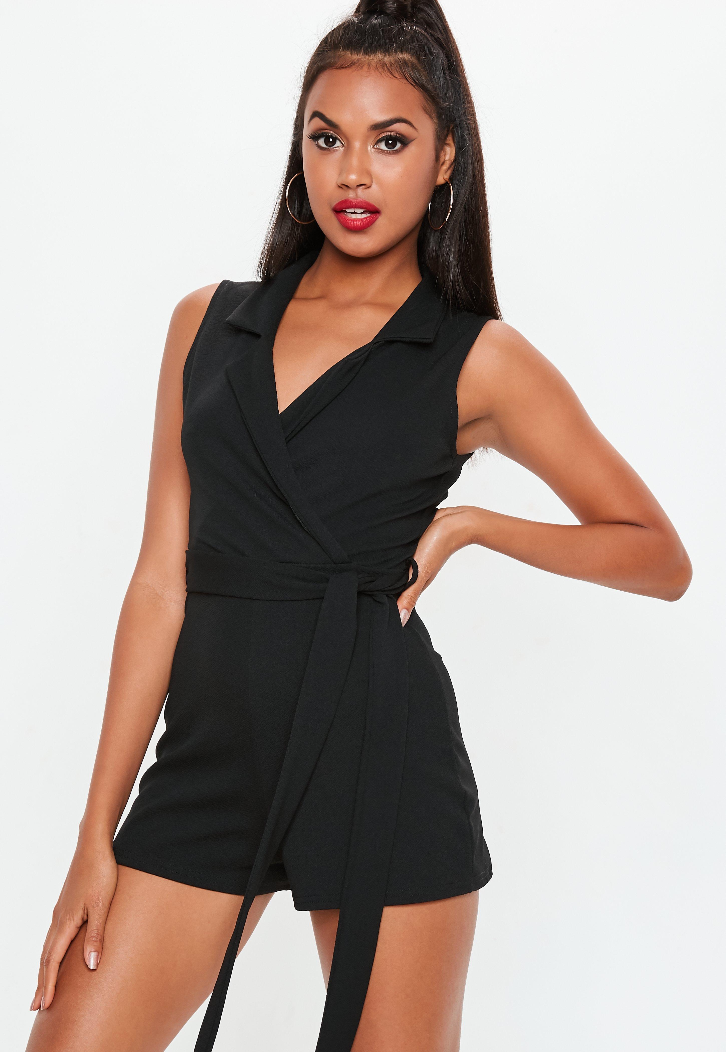 Black Sleeveless Blazer Playsuit