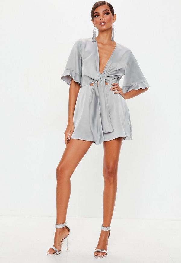 757fc90bf02 Grey Tie Front Scarf Kimono Sleeve Playsuit. Previous Next