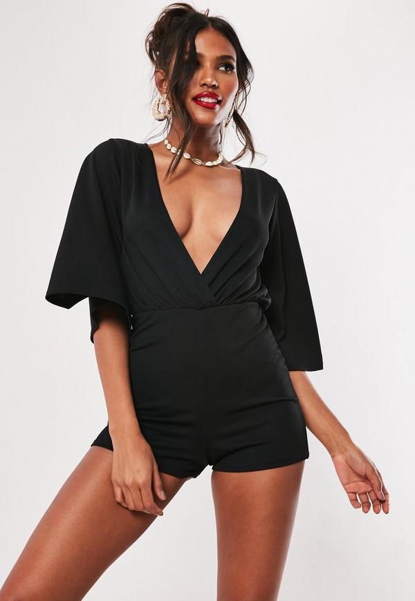 1a9b3d307a9 Black Plunge Kimono Sleeve Playsuit