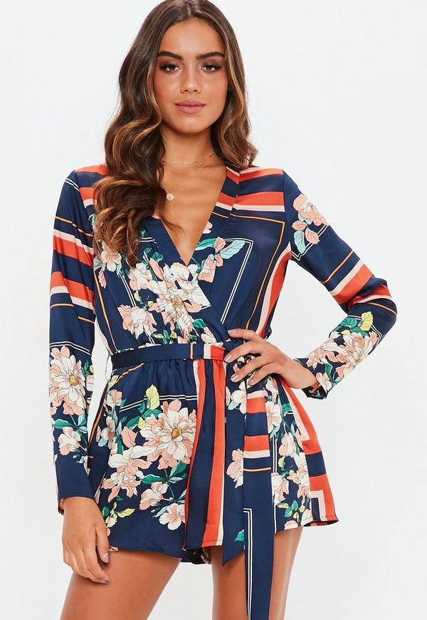 5b7c917e0c56 Navy Border Print Long Sleeve Playsuit