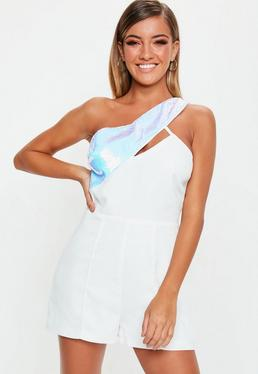 4a04ecfeb710 ... White Asymmetric Sequin Playsuit
