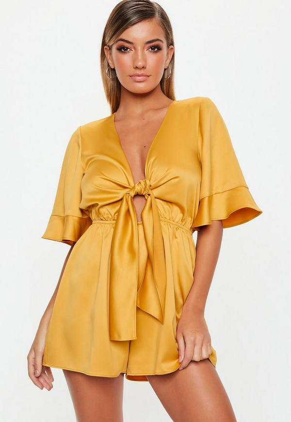 fc24770535 Mustard Kimono Sleeve Satin Playsuit