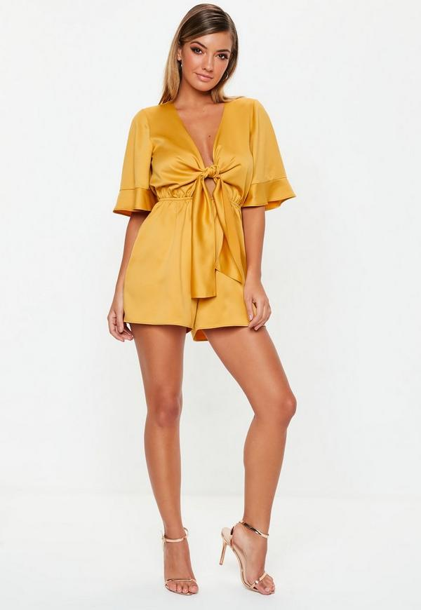 25a71f73ff9a Mustard Kimono Sleeve Satin Playsuit. Previous Next