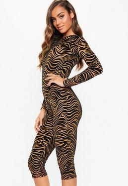 Rust Zebra. Black Jumpsuits. Unitard Playsuits 30f9f55c4