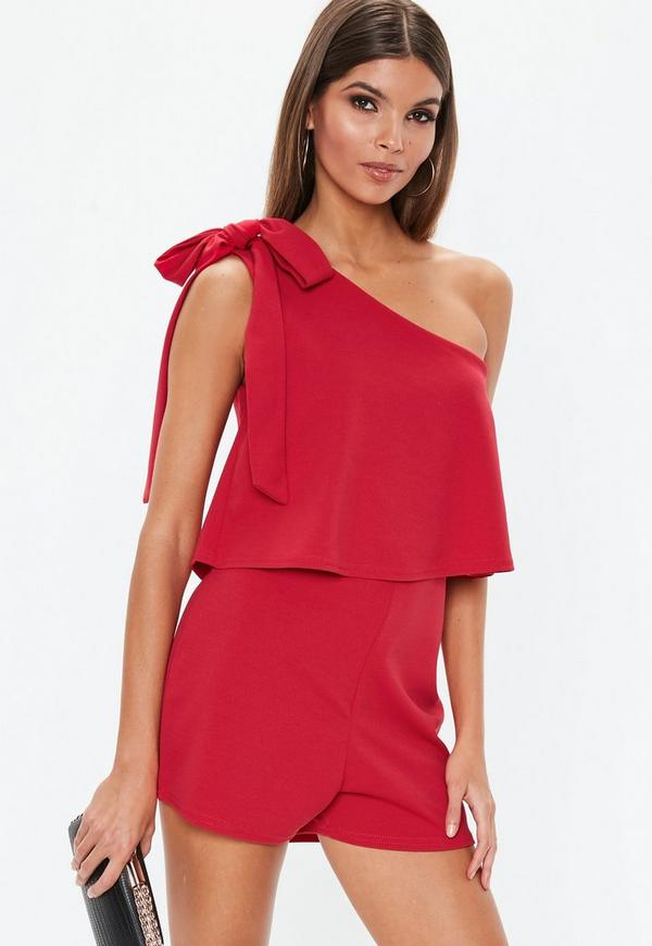 10cccfb77b Red One Shoulder Bow Playsuit