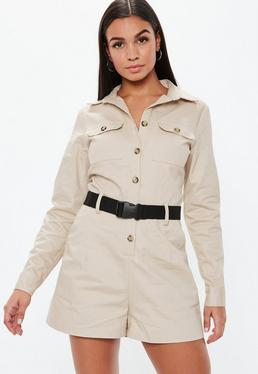 a449f0c726e7 Sand Utility Long Sleeve Belted Playsuit