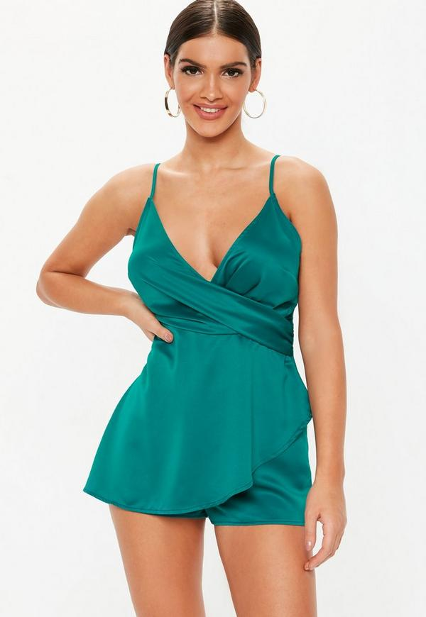 c2ab47e7409 Green Wrap Front Playsuit