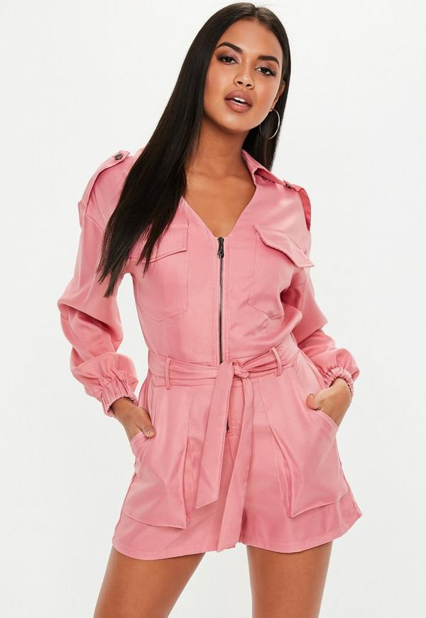 595d170be5d Pink Utility Belted Playsuit