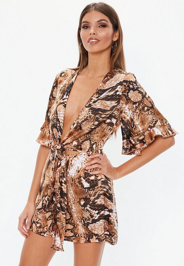 c5caf59757d Camel Snake Print Tie Front Kimono Playsuit