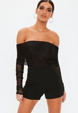 84630a527213 ... Black Bardot Mesh Ruched Long Sleeve Romper. CONTRASTING DOTTED MESH  JUMPSUIT. Stripe Lounge Jumpsuit. Dark Blue Off Shoulder Lace Crochet Wide  Leg Sexy ...