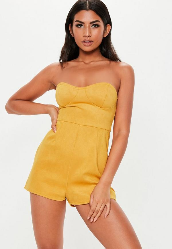 6f18b6be04bf ... Mustard Yellow Faux Suede Bandeau Playsuit. Previous Next