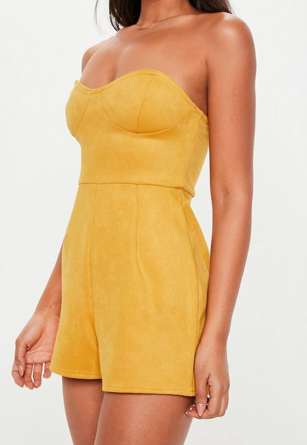 5c71882b2bed Mustard Yellow Faux Suede Bandeau Playsuit. Previous Next