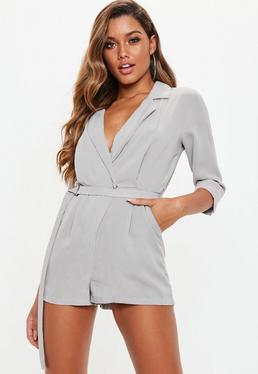 bcfbd8c91ce Grey Belted Blazer Playsuit