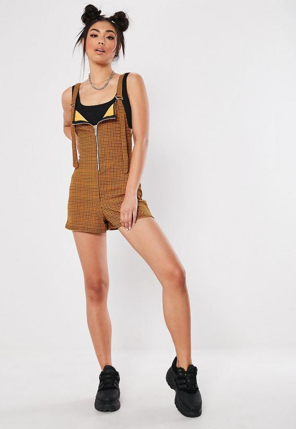 e6377d5f805 ... Mustard Dogtooth Zip Front Playsuit. Previous Next