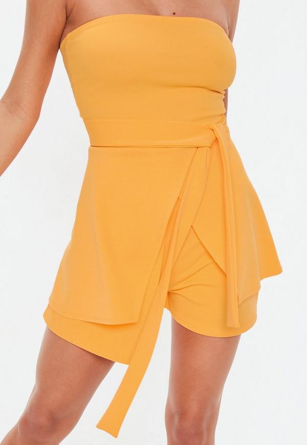 e712a3efe7 Orange Bandeau Tie Front Skort Playsuit. Previous Next