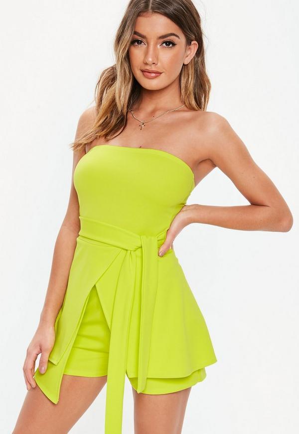 7f0082f3e3 Neon Lime Bandeau Tie Front Skort Playsuit