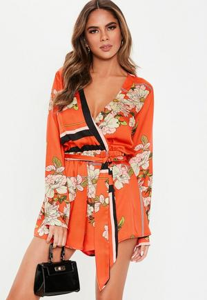 2c57d8628a £30.00. red border print long sleeve playsuit