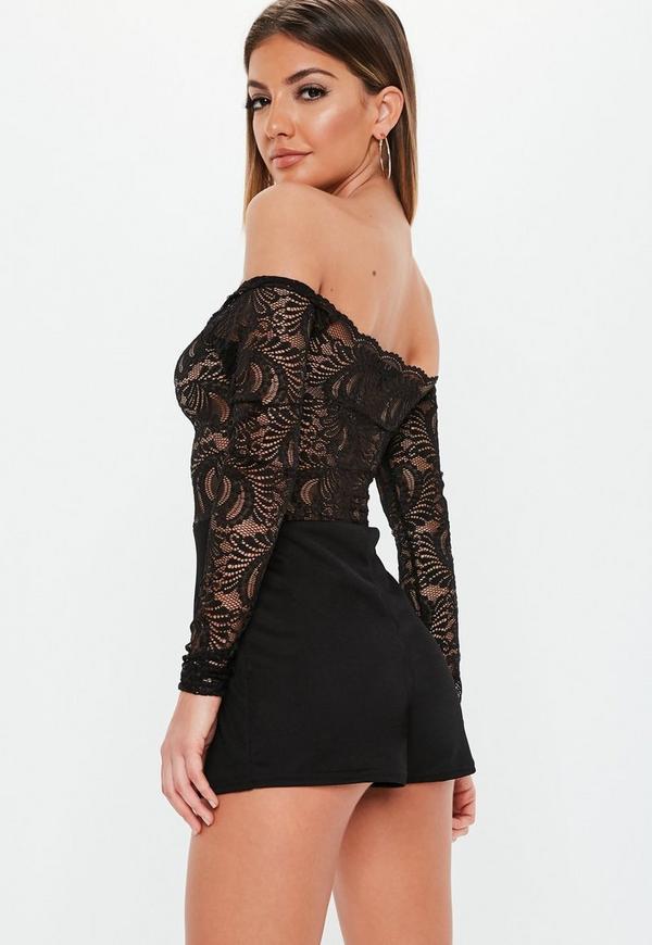 d6d1a7e484 ... Black Bardot Lace Long Sleeve Playsuit. Previous Next