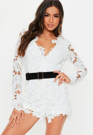 1d4ba1516d72 £35.00. white lace plunge long sleeve playsuit