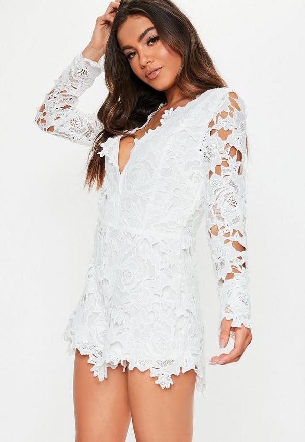 446ecd74868 ... White Lace Plunge Long Sleeve Playsuit. Previous Next