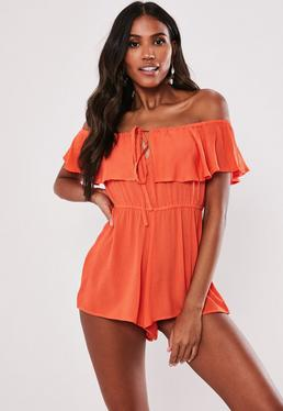 2064158838a2 Orange Sequin Bandeau Unitard · Orange Cheesecloth Bardot Frill Playsuit