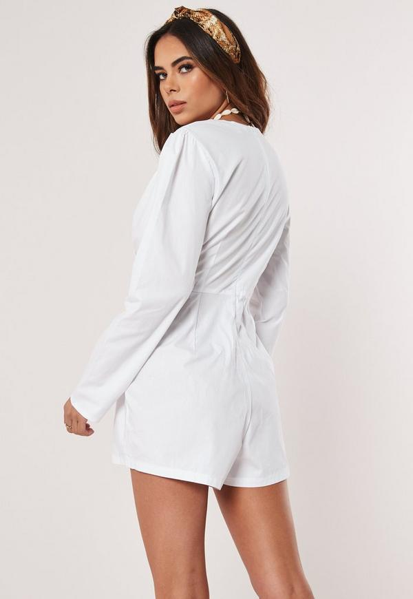 5fa678824b ... White Cotton Poplin Shirt Playsuit. Previous Next