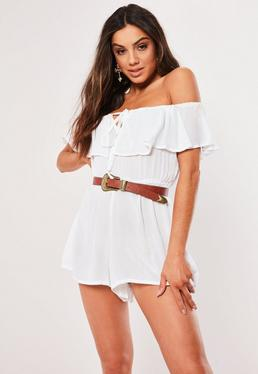 355b0196f74 White Cheesecloth Sleeveless Ruffle Bardot Playsuit