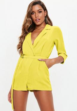 bacfbe38bff ... Yellow Belted Blazer Romper