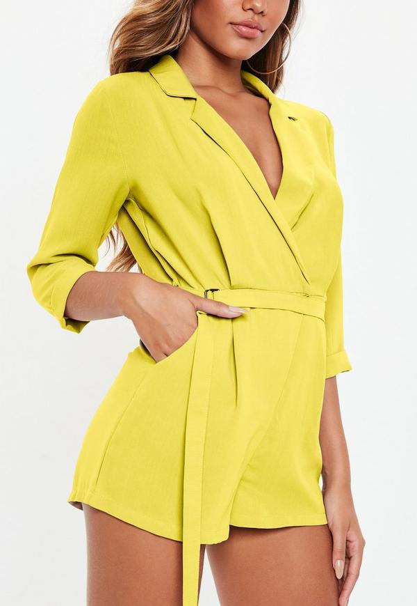 59606fa5f73c ... Yellow Belted Blazer Romper. Previous Next