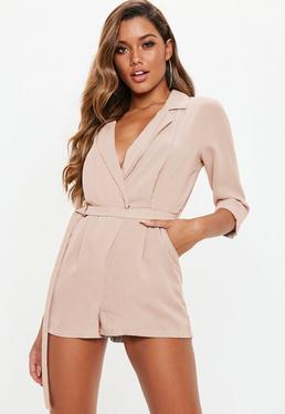 cfc73109a9a8 Stone Belted Blazer Playsuit