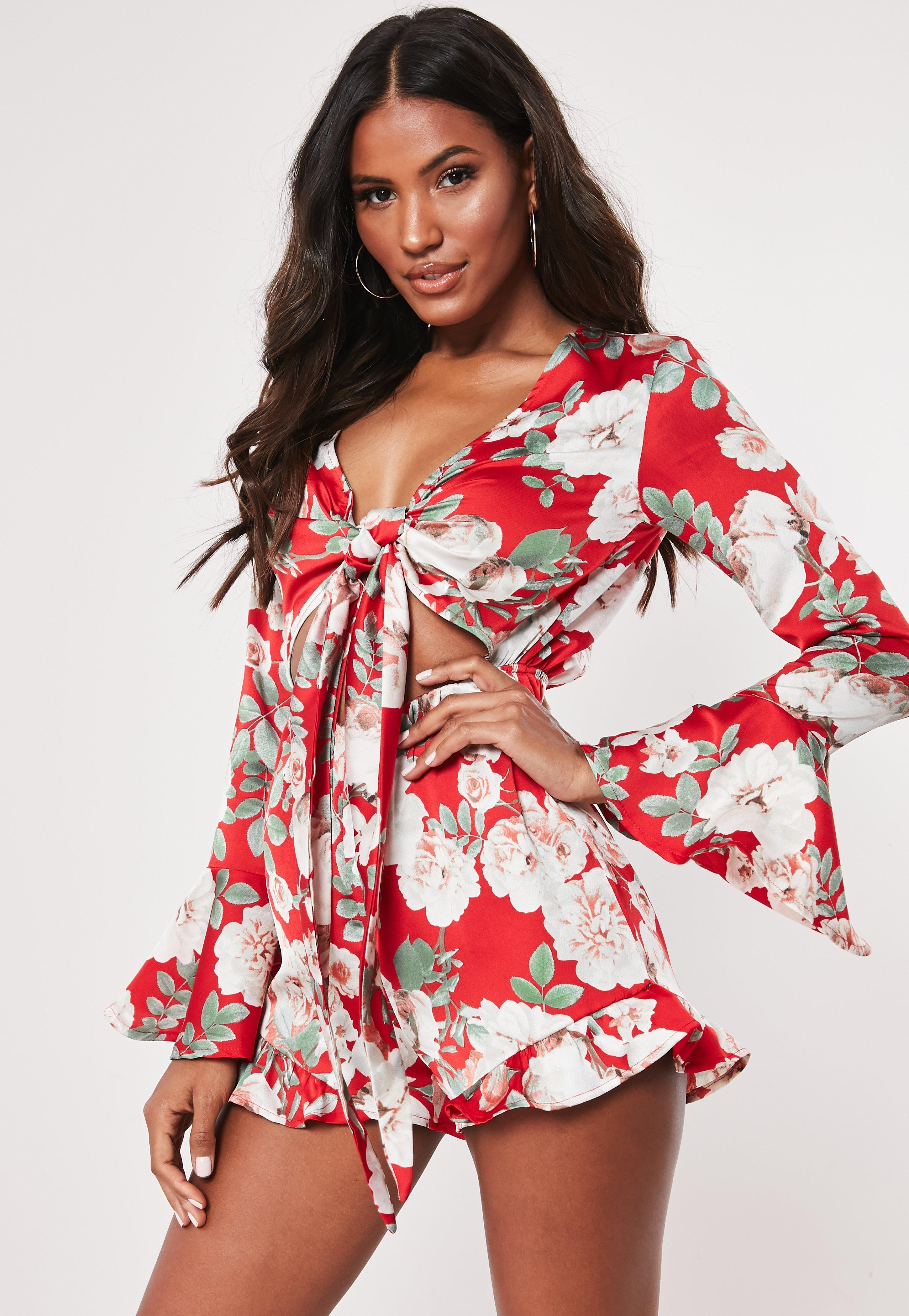 92d9149819 Red Floral Frill Tie Front Playsuit
