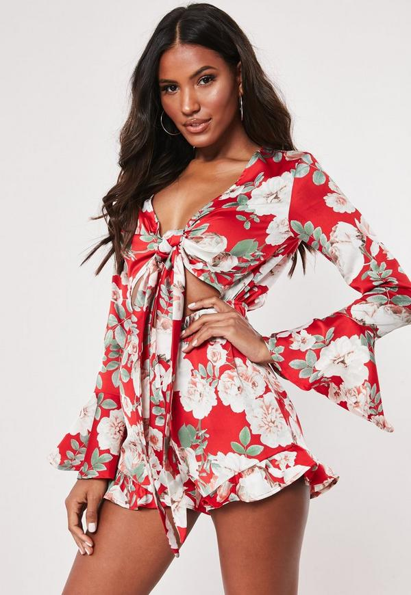 62c24c33ba ... Red Floral Frill Tie Front Playsuit. Previous Next