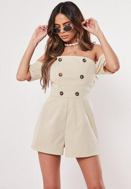 668f787f1c6 ... Stone Button Front Bardot Playsuit