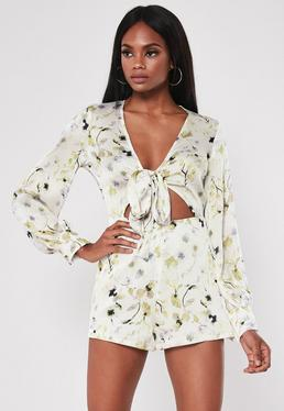 eb036fe618 White Floral Tie Front Cut Out Playsuit