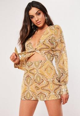 4e98135567c Yellow Belted Blazer Romper  Yellow Tie Front Paisley Romper