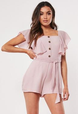 deafeffdbbc0 Pink Snake Print Playsuit · Pink Button Front Playsuit