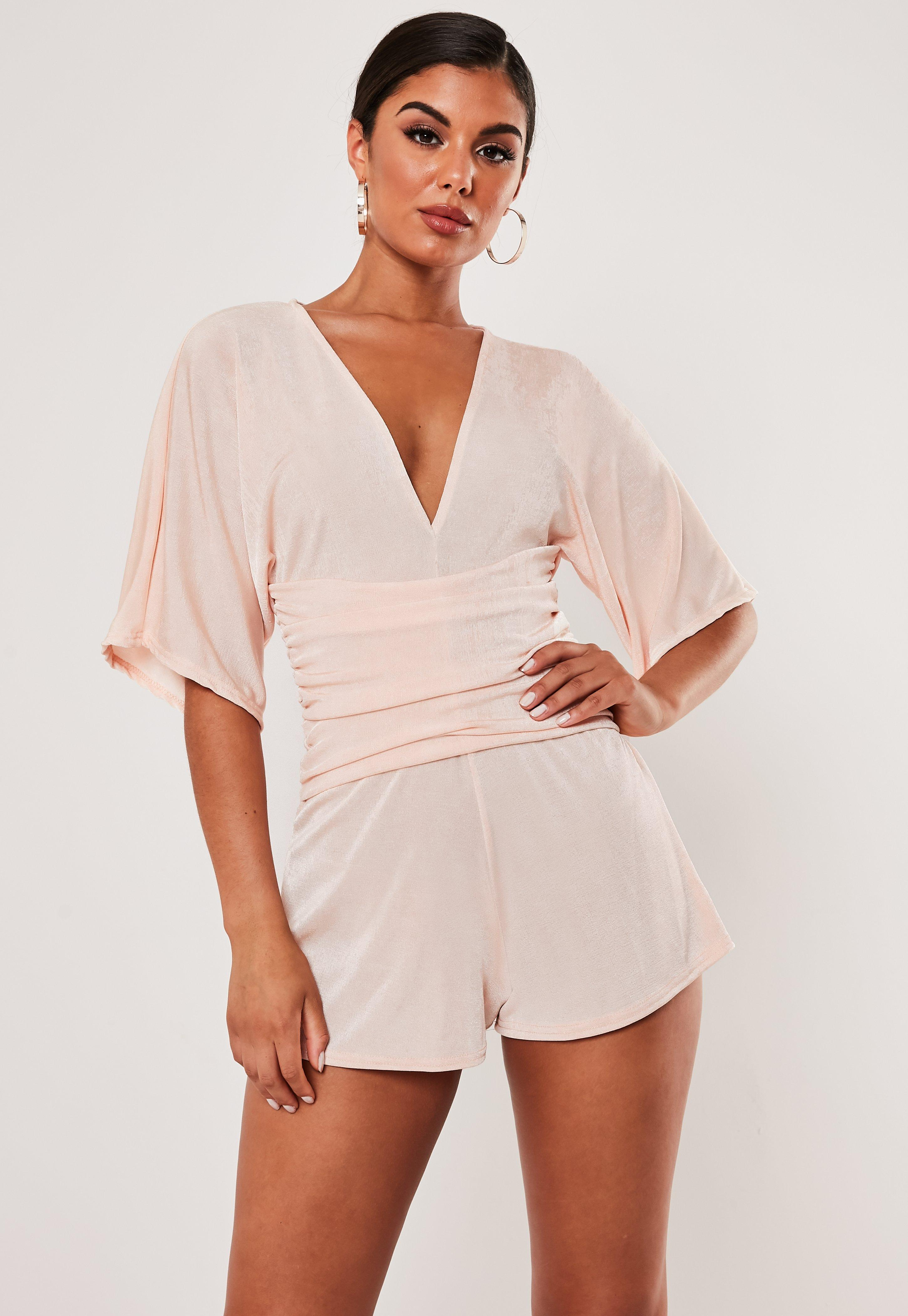 Blush Kimono Ruched Belted Romper by Missguided