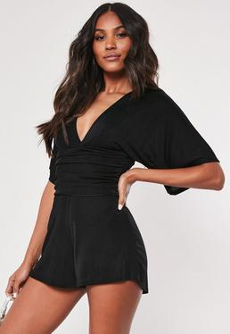 9fa07556fc20 Black One Shoulder Cut Out Tie Detail Romper  Black Kimono Sleeve Ruched  Belted Romper