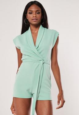 dd85720ba76 ... Mint Lapel Detail Wrap Playsuit
