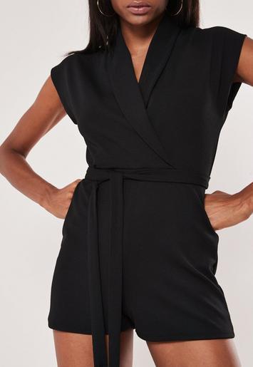Black Lapel Detail Wrap Playsuit by Missguided