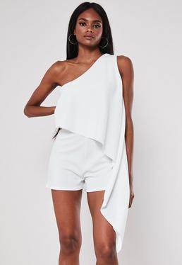 fd8e68b0d643 White High Neck Rib Piped Mini Dress · White One Shoulder Drape Playsuit