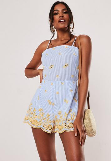 Blue Stripe Embroidered Tie Back Cut Out Playsuit by Missguided