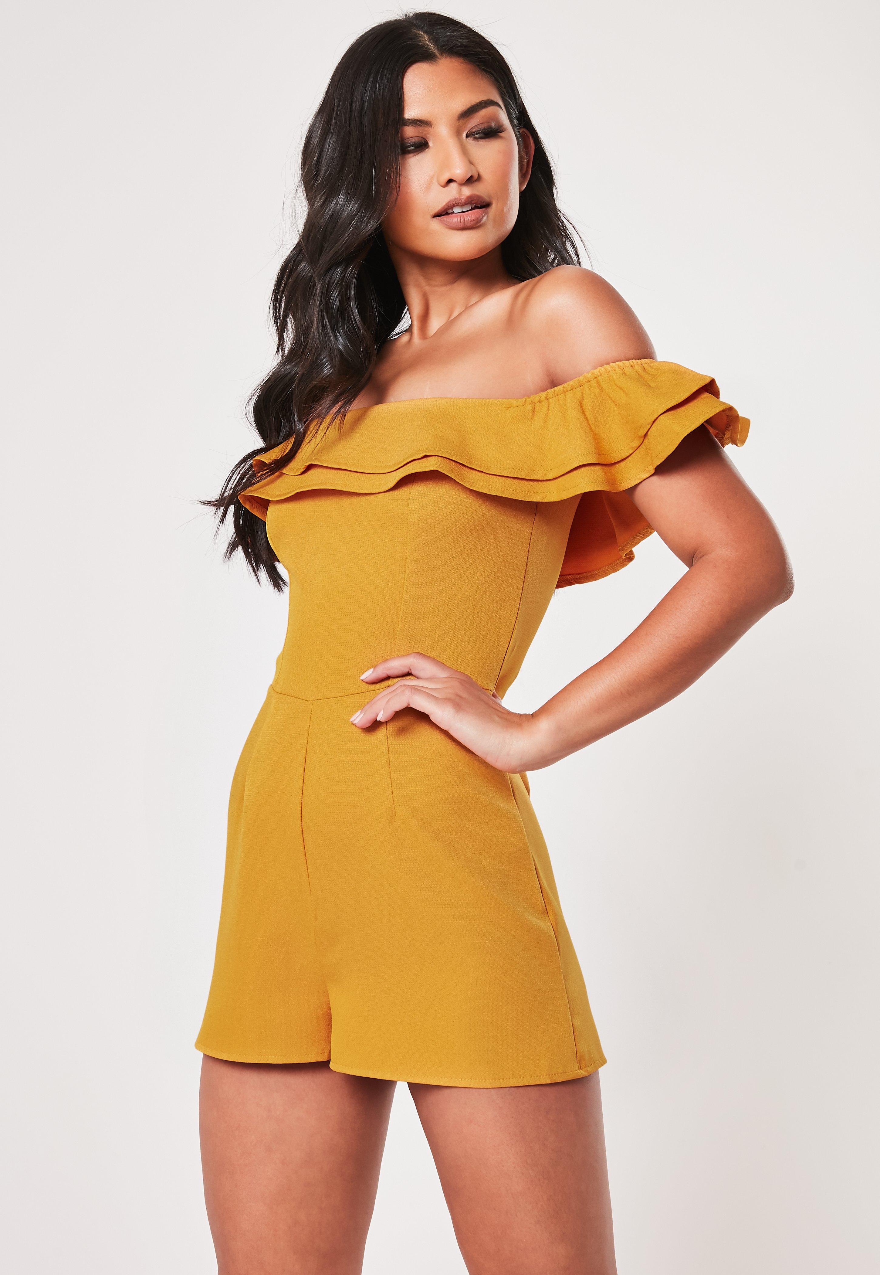 Mustard Bardot Ruffle Tailored Playsuit by Missguided