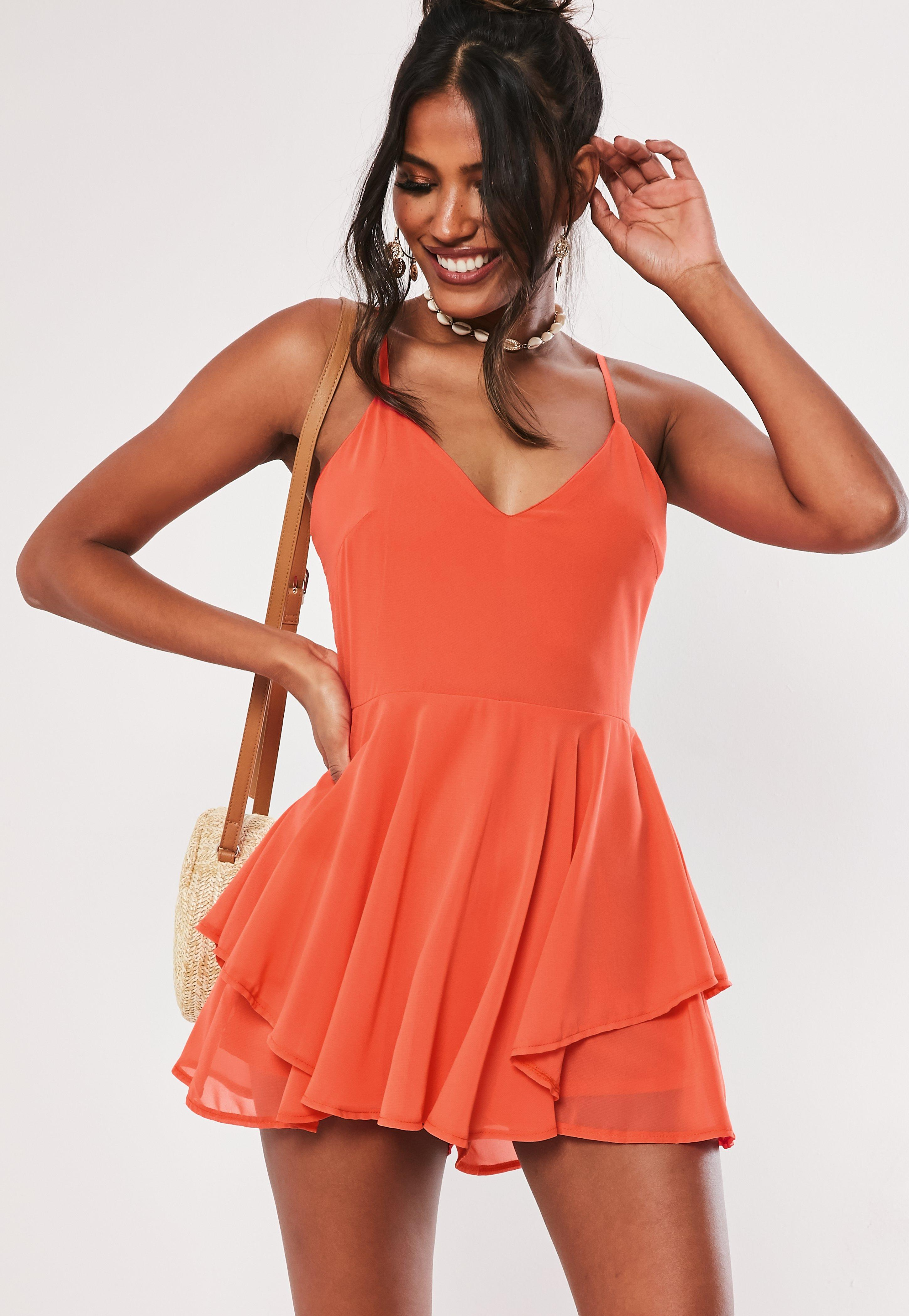 Orange Floaty Chiffon Romper by Missguided
