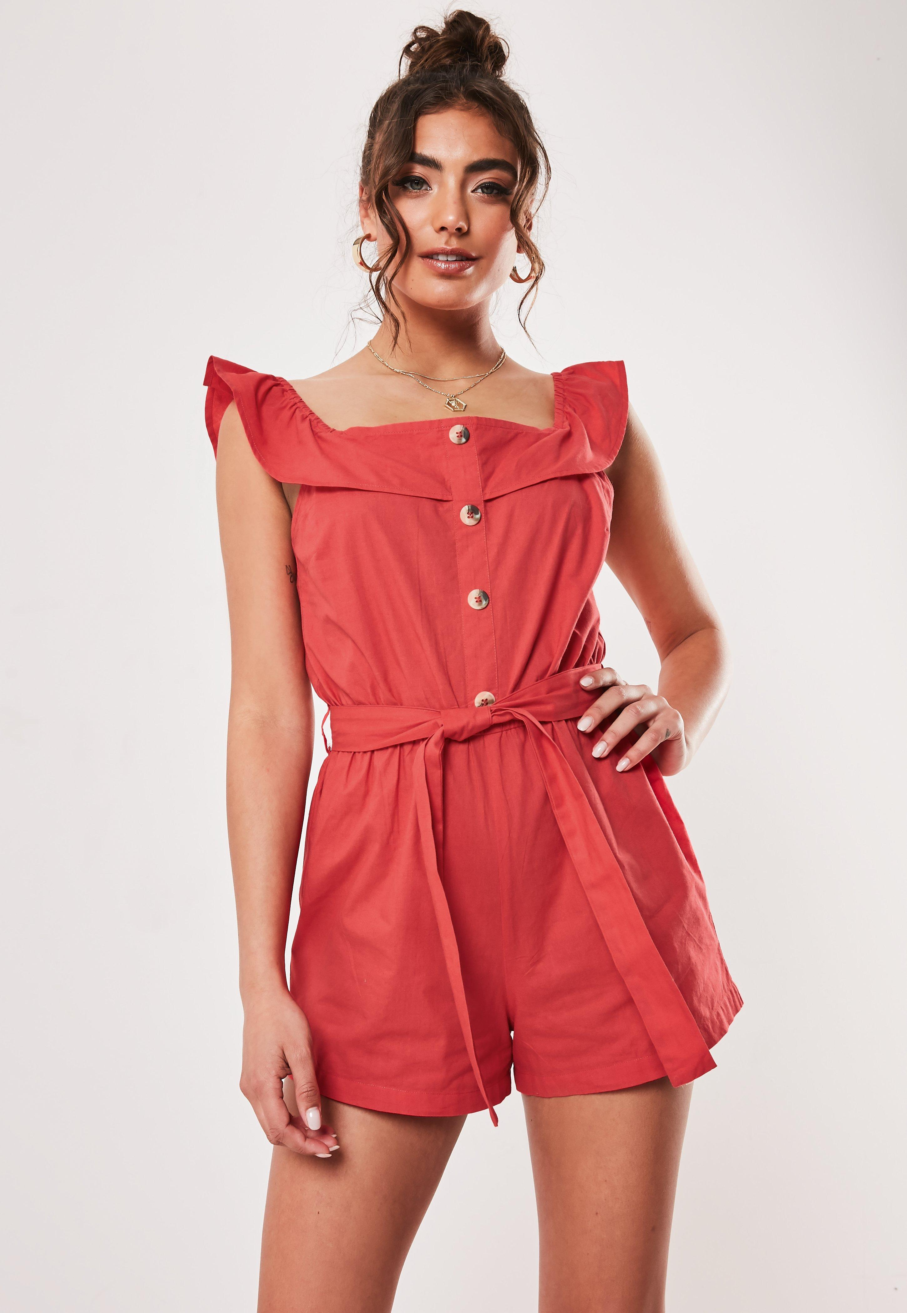 aad1fa86a717 Red Linen Look Frill Strappy Button Romper